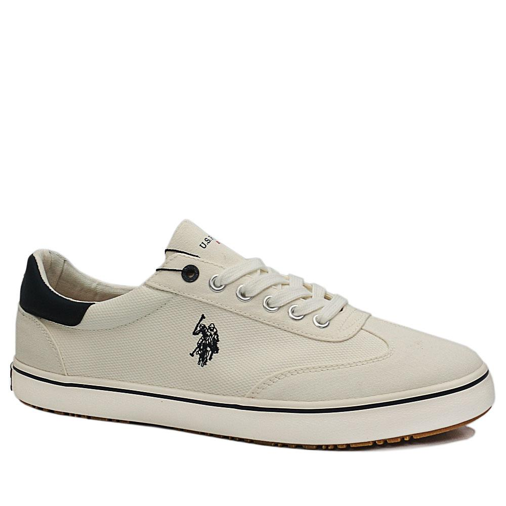USSPA White Ted Fabric Sneakers