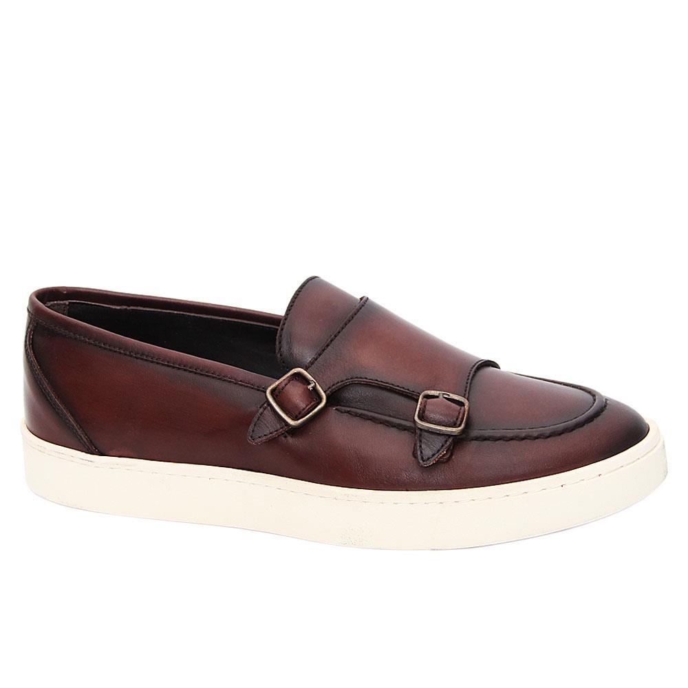 Coffee Kendrick Italian Leather Monk Strap Slip On Sneakers