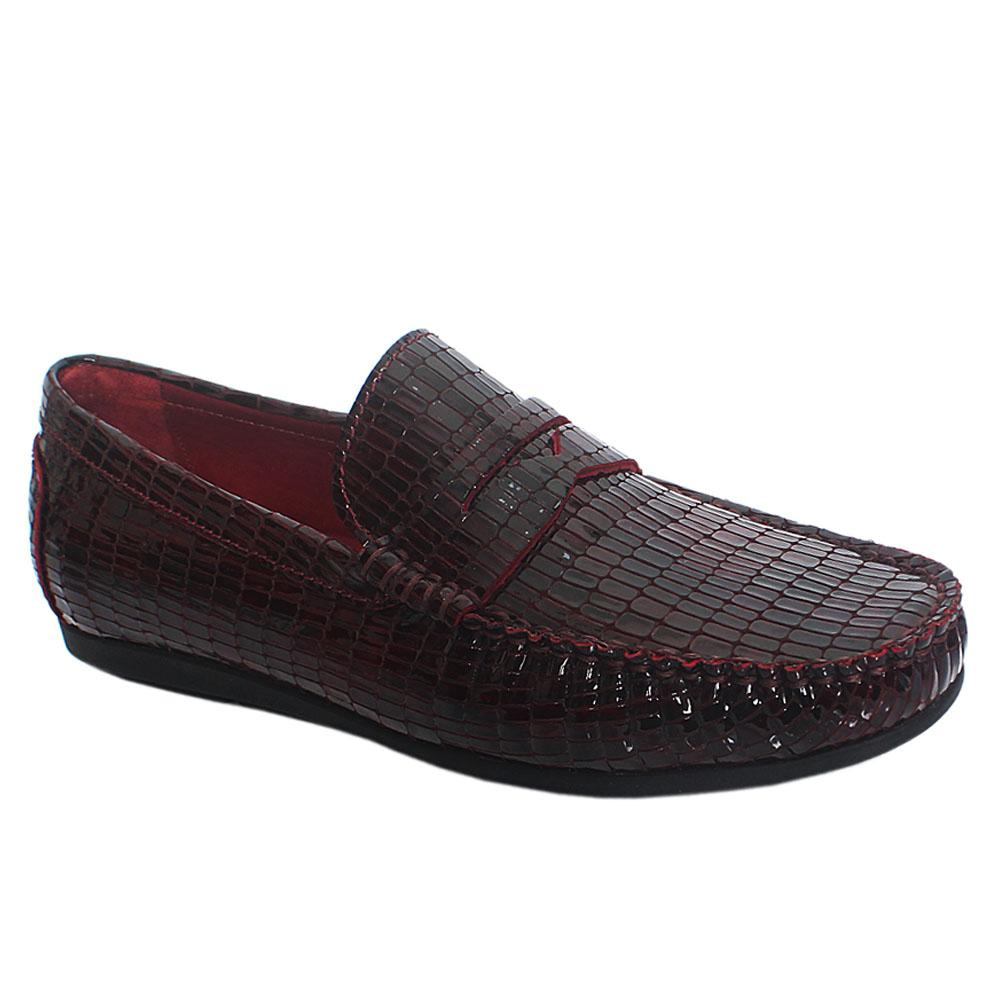 Wine Roy Opaka Patent Leather Drivers Shoes