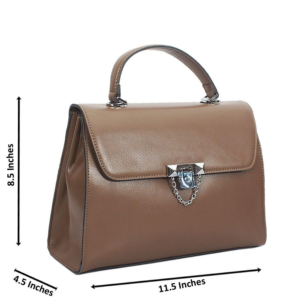 Camel Mia Montana Leather Top Handle Handbag