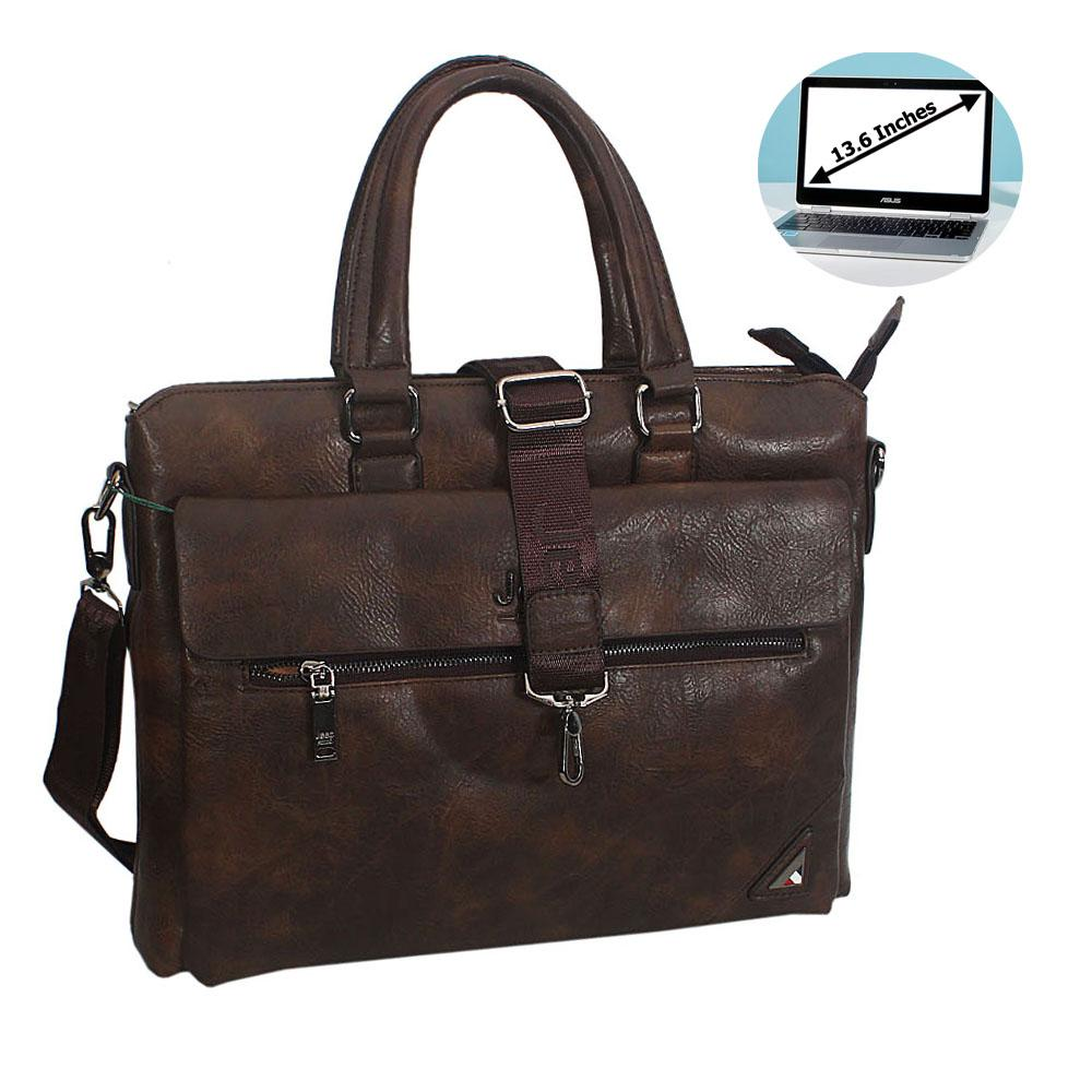 Coffee Marcos Leather Single Flap Briefcase