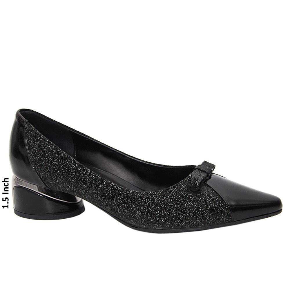 Black Caterina Itallian Leather Low Heel Pumps