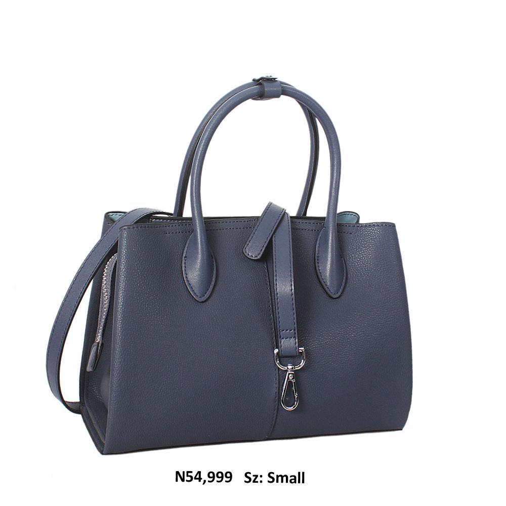 Bianca Blue Cowhide Leather Small Tote Handbag