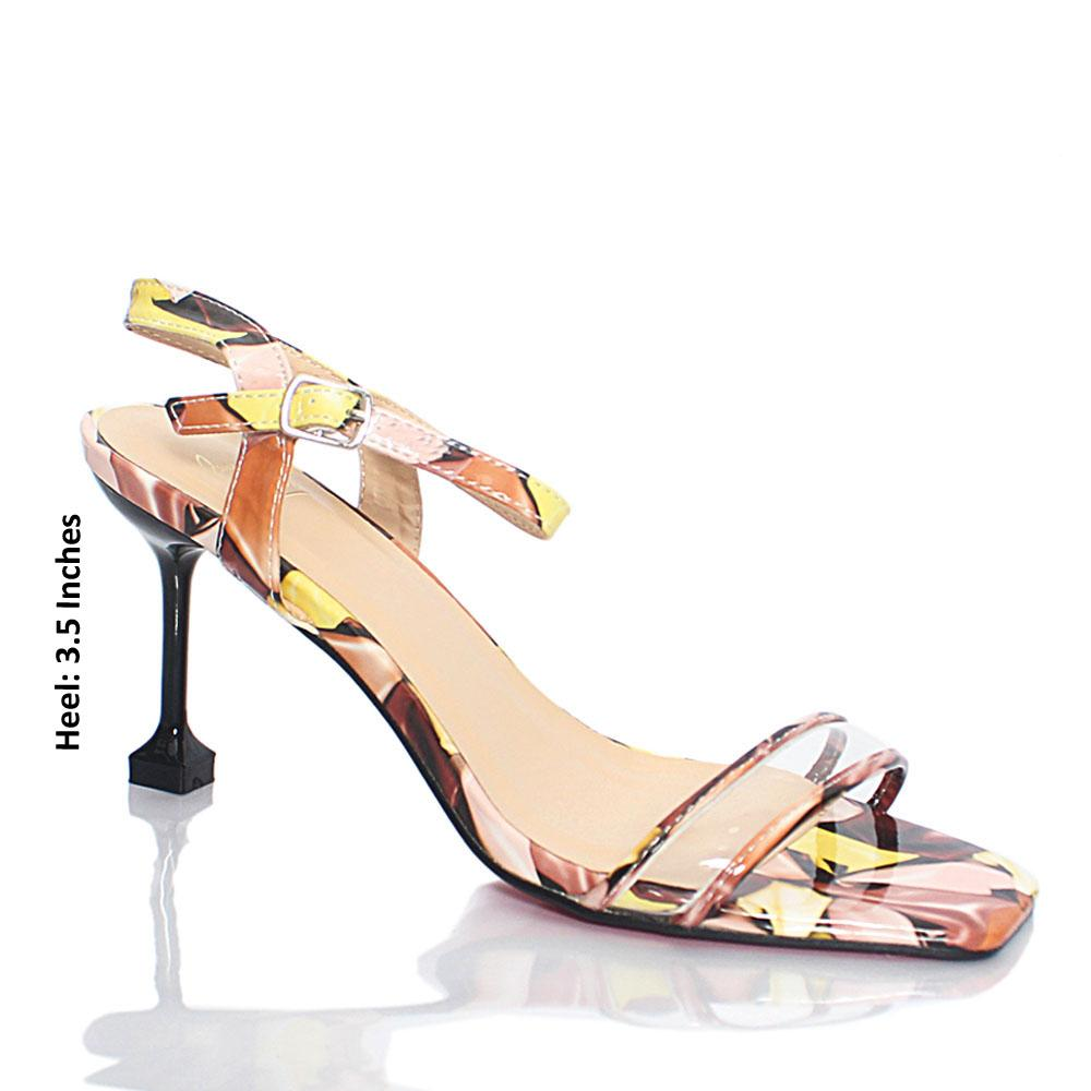 Multicolor Graphic Print Patent Leather Heels