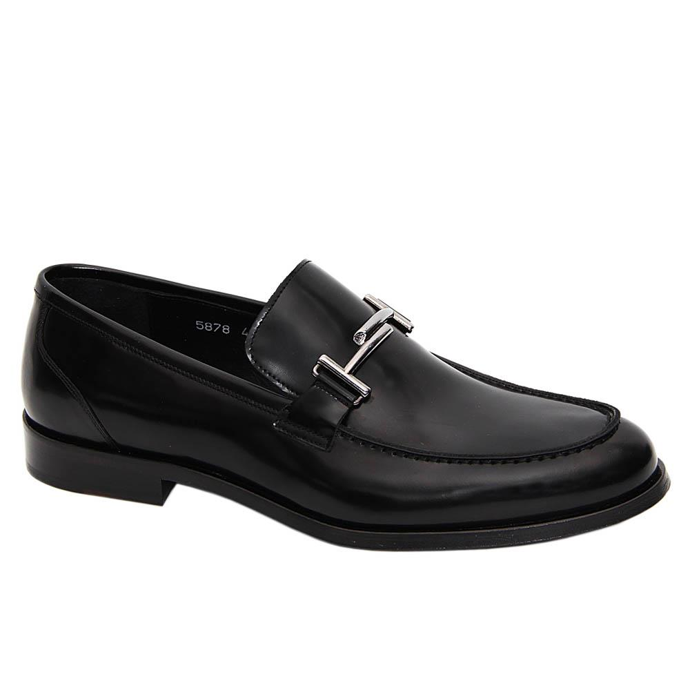 Black Diego Italian Leather Loafers