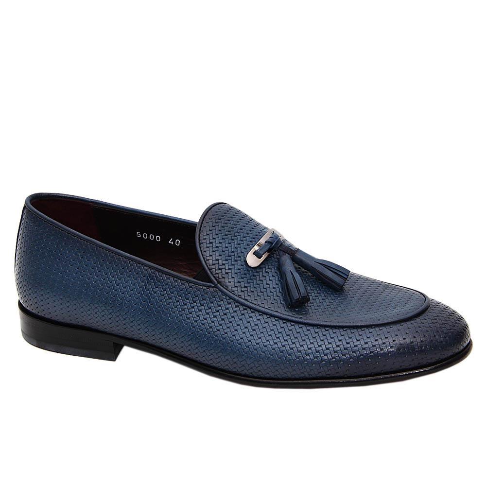 Blue Malcom Italian Leather Tassel Loafers