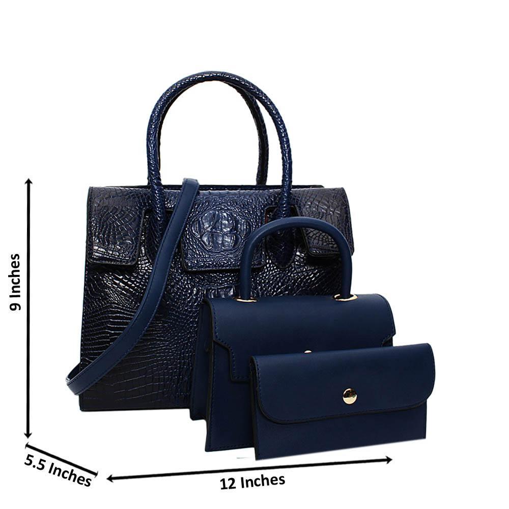 Blue Ellena Croc Leather Medium 3 in 1 Tote Handbag