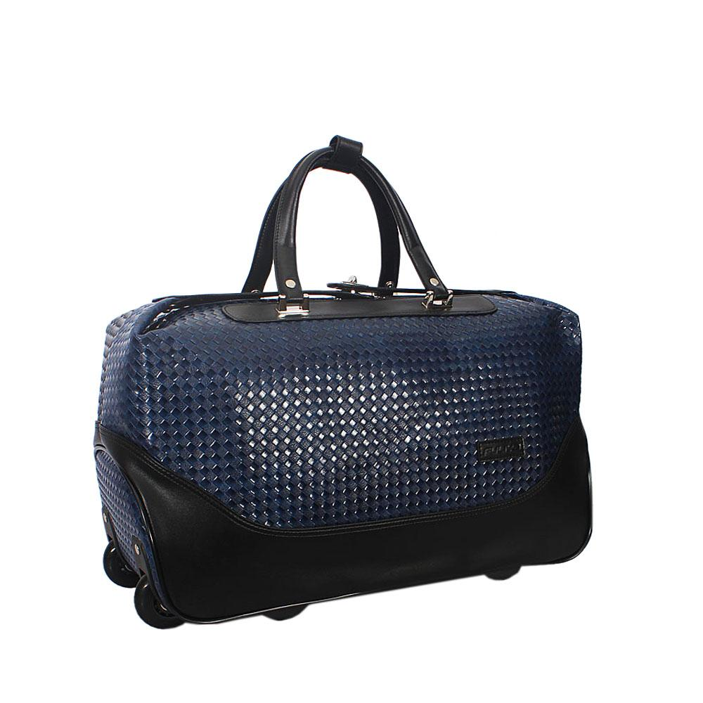 Blue Woven Style Leather Trolley Duffel Bag