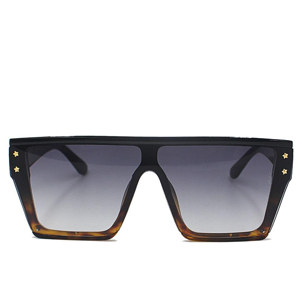 Black Brown WoOversize Shield Sunglasses