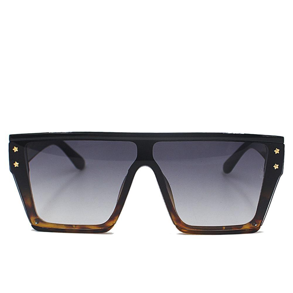 Black Brown WoOversize Shield Sunglasses