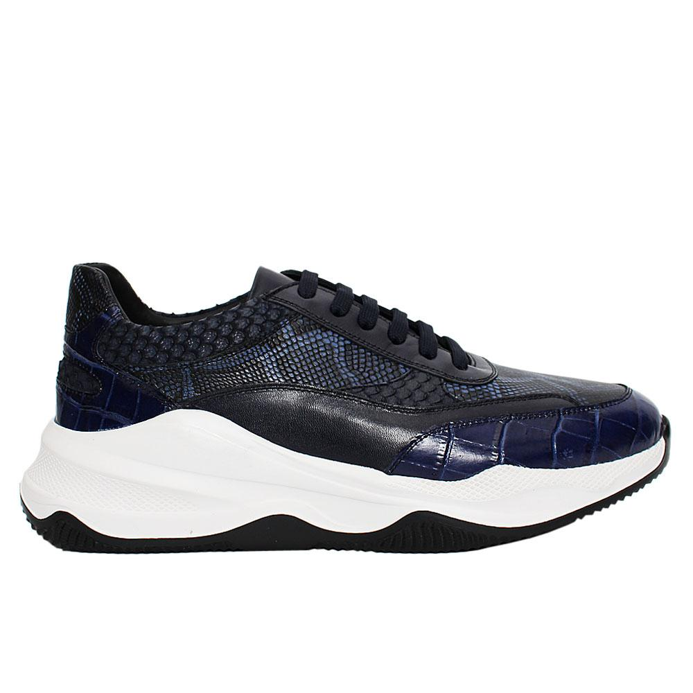 Navy Animal Print Italian Leather Sneakers