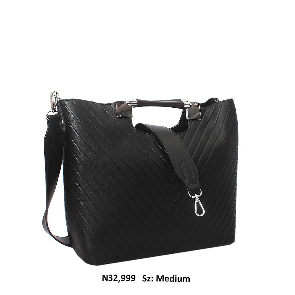 Black-Raimonda-Leather-Metallic-Handle-Tote-Handbag