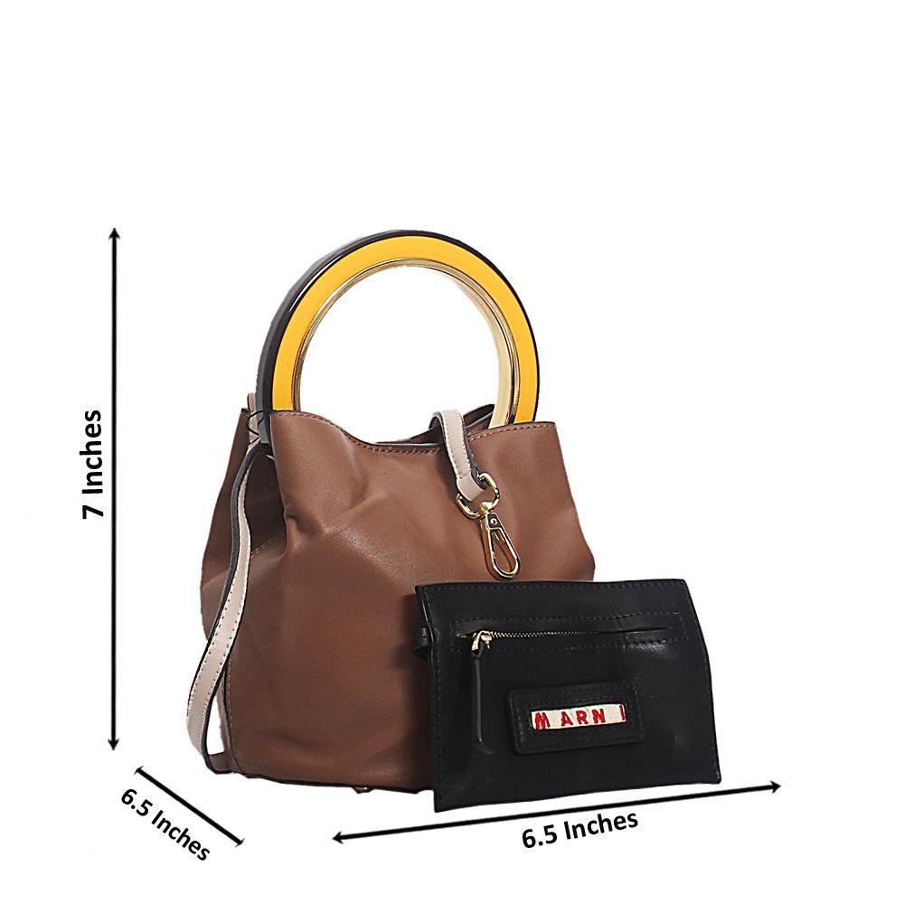 Coffee Marni Montana Leather Mini Top Handle Handbag