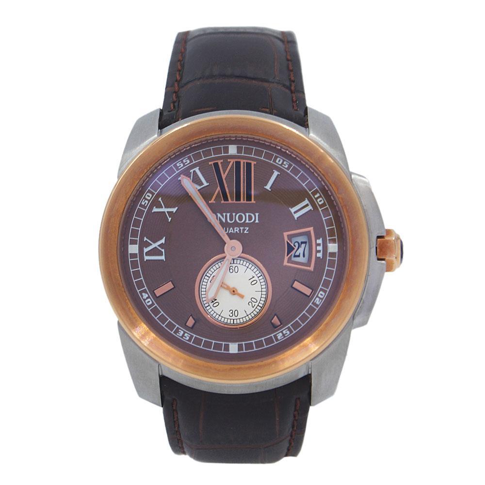 Nudi Gold Brown FBlack Leather Pilot Watch