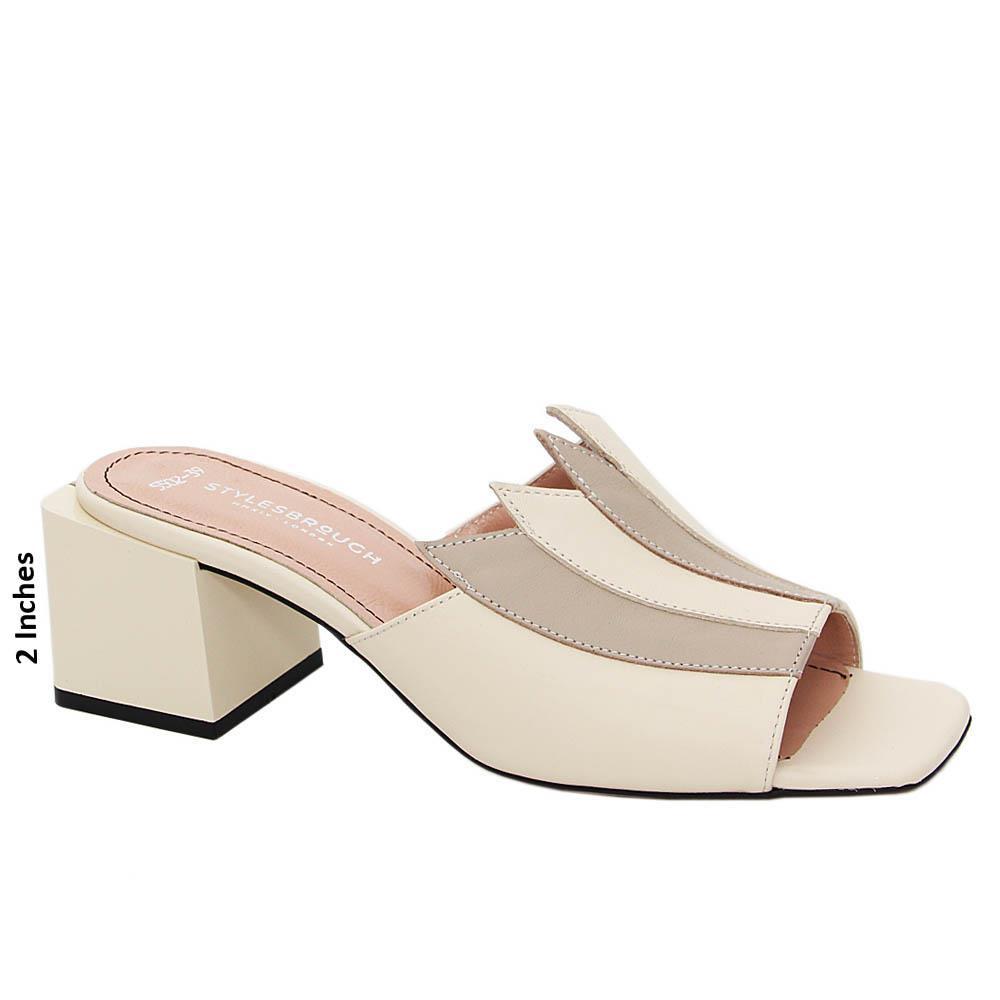 Cream Esmeralda Tuscany Leather Mid Heel Mule