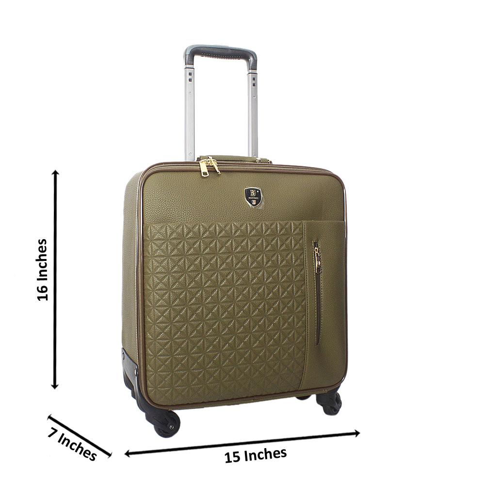 Desert Green 16 Inch Leather Pilot Suitcase Wt Lock