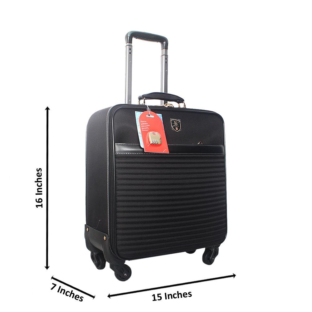 Black 16 Inch Fabric Leather Pilot Suitcase Wt Lock