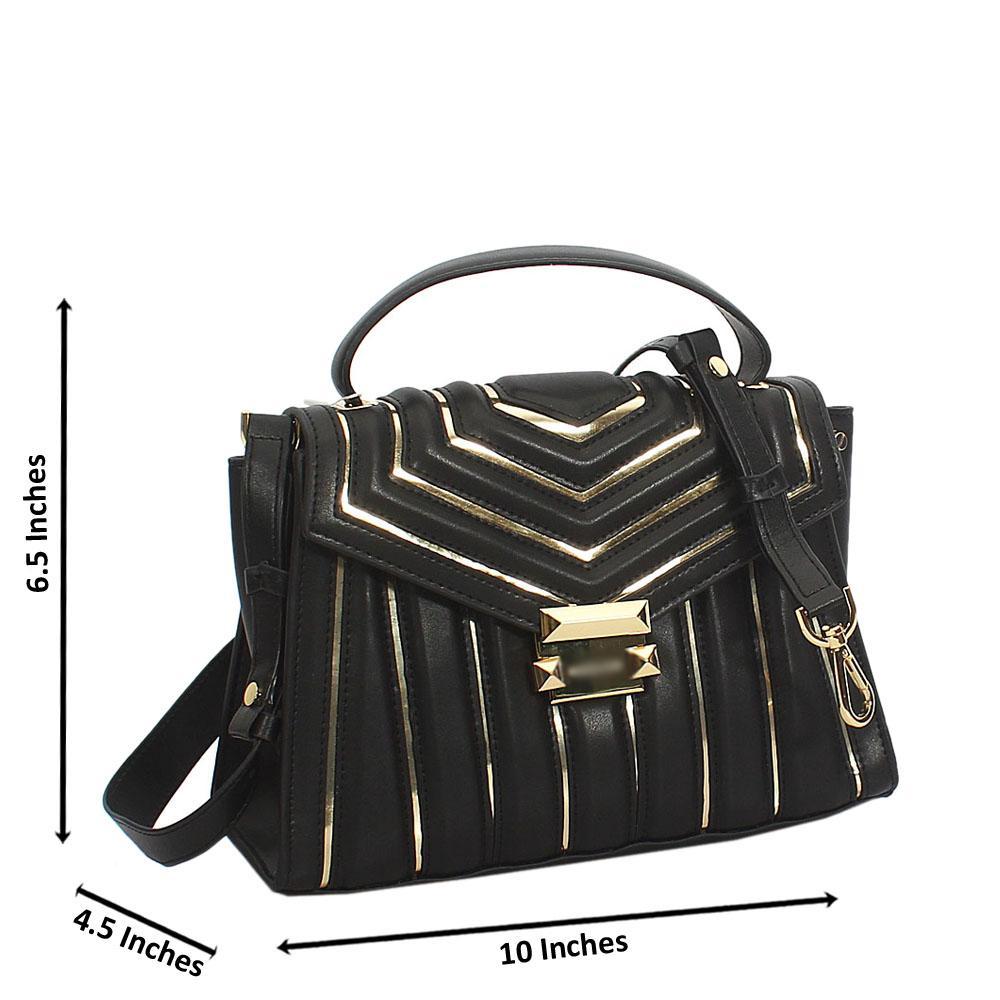 Dorah Black Gold Cowhide Leather Mini Top Handle Handbag