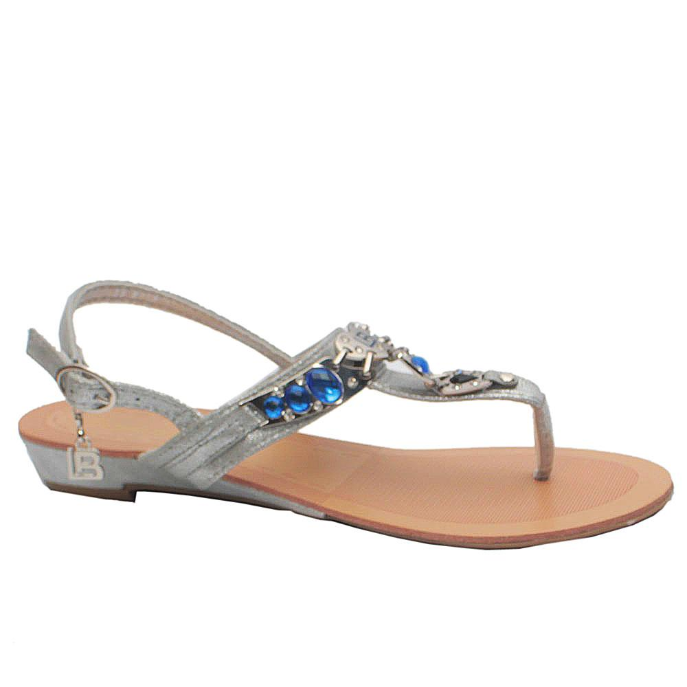 Sz 40 Biagiotti Silver Blue Crystals Leather Sandals