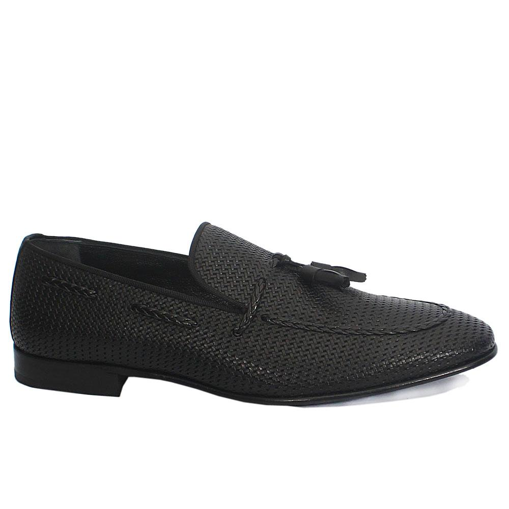 Calvani Black Leather Tassel Loafers