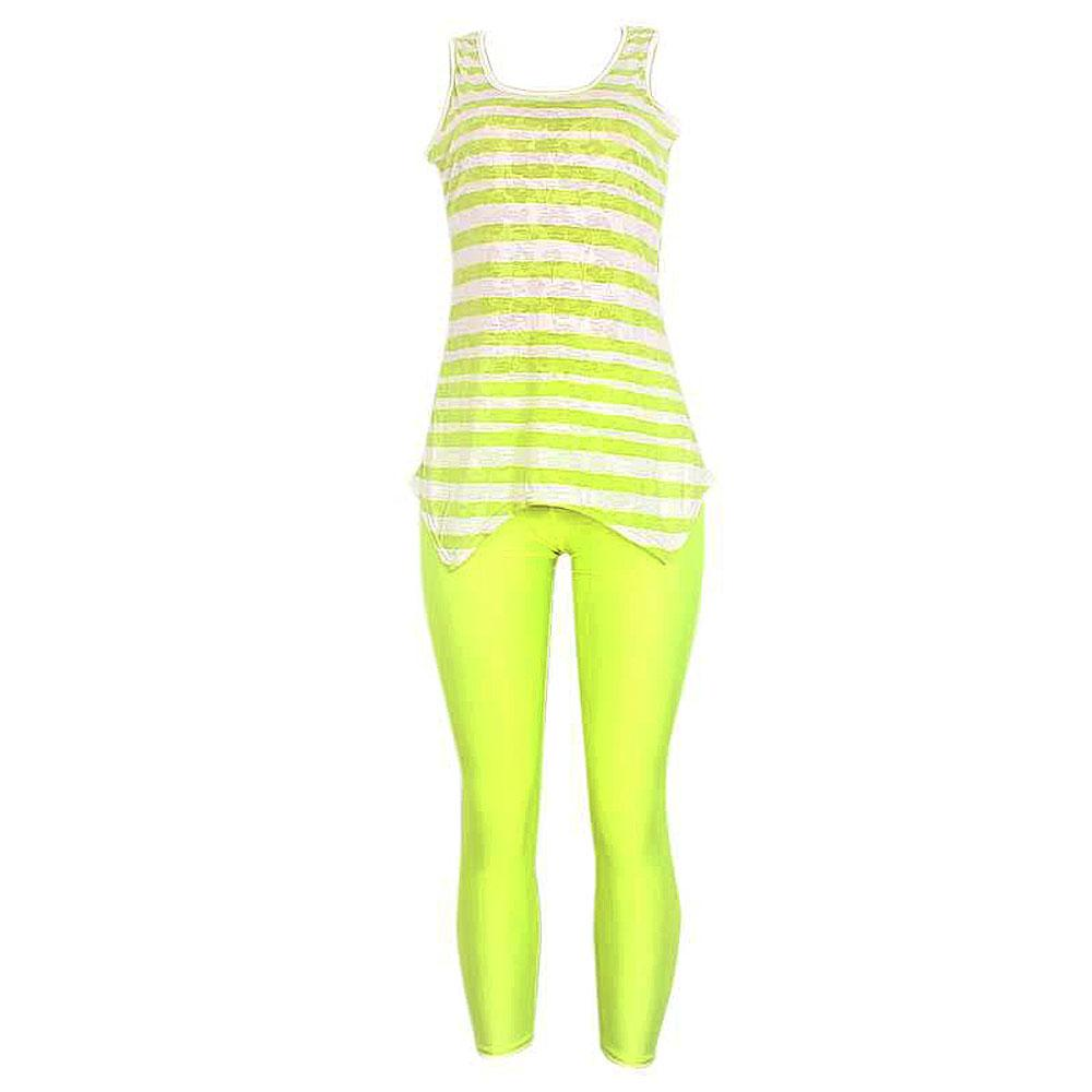 Lemon Cream SleevelesTop Wt Leggings-Sz M-L