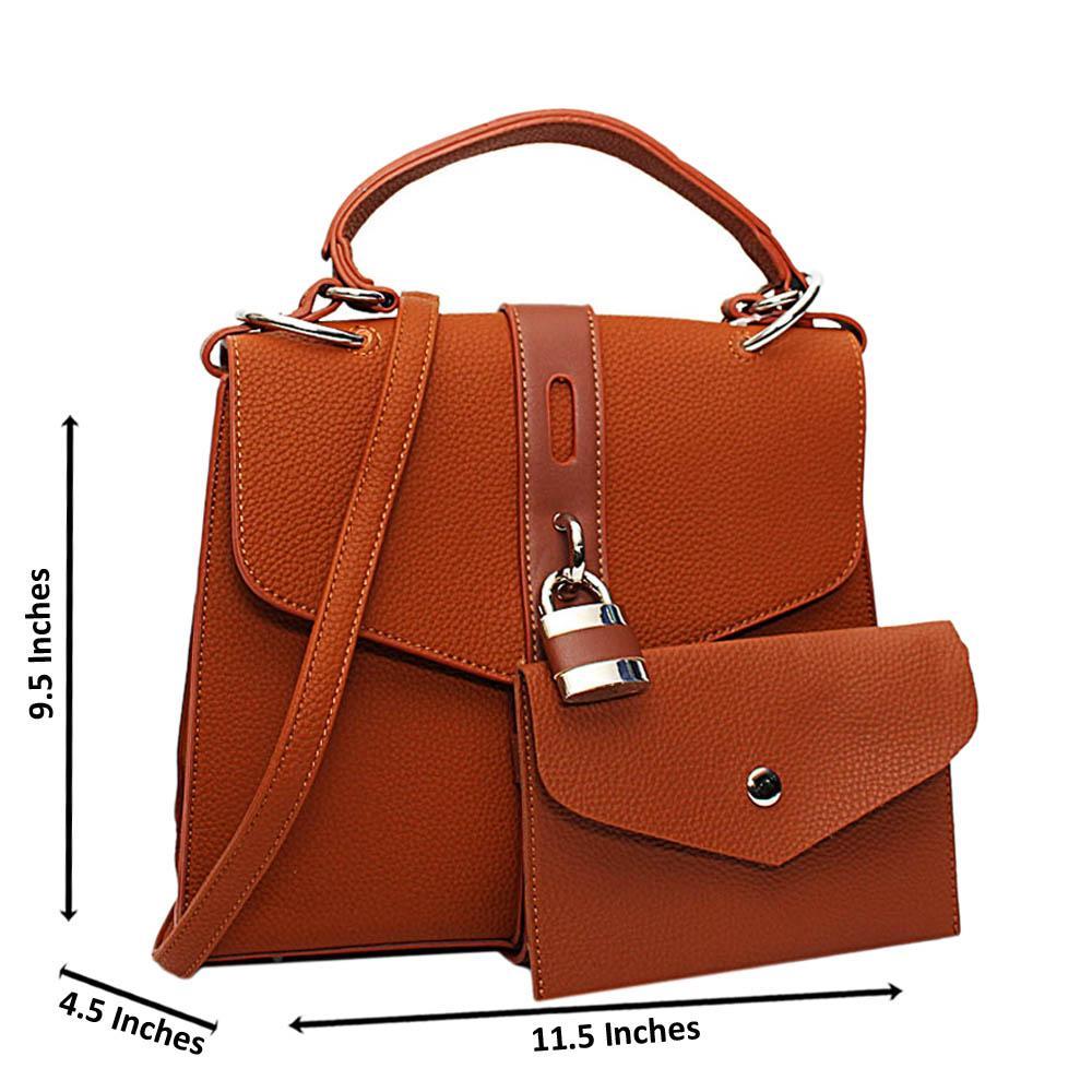 Brown Clara Leather Medium Top Handle Handbag