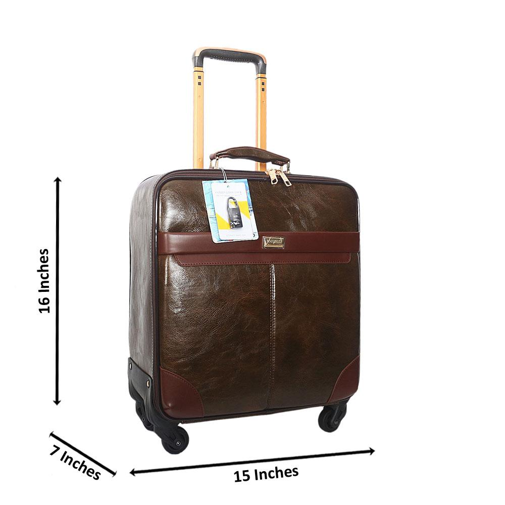 Greenish Brown 16 Inch Leather Pilot Suitcase Wt Lock