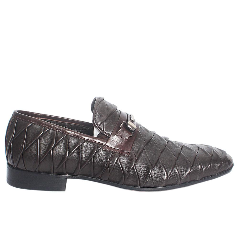 Coffee Patterned Italian Leather Loafers