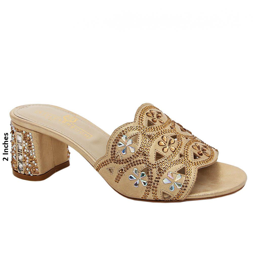 Gold Rosa Crystals Italian Satin Leather Mule