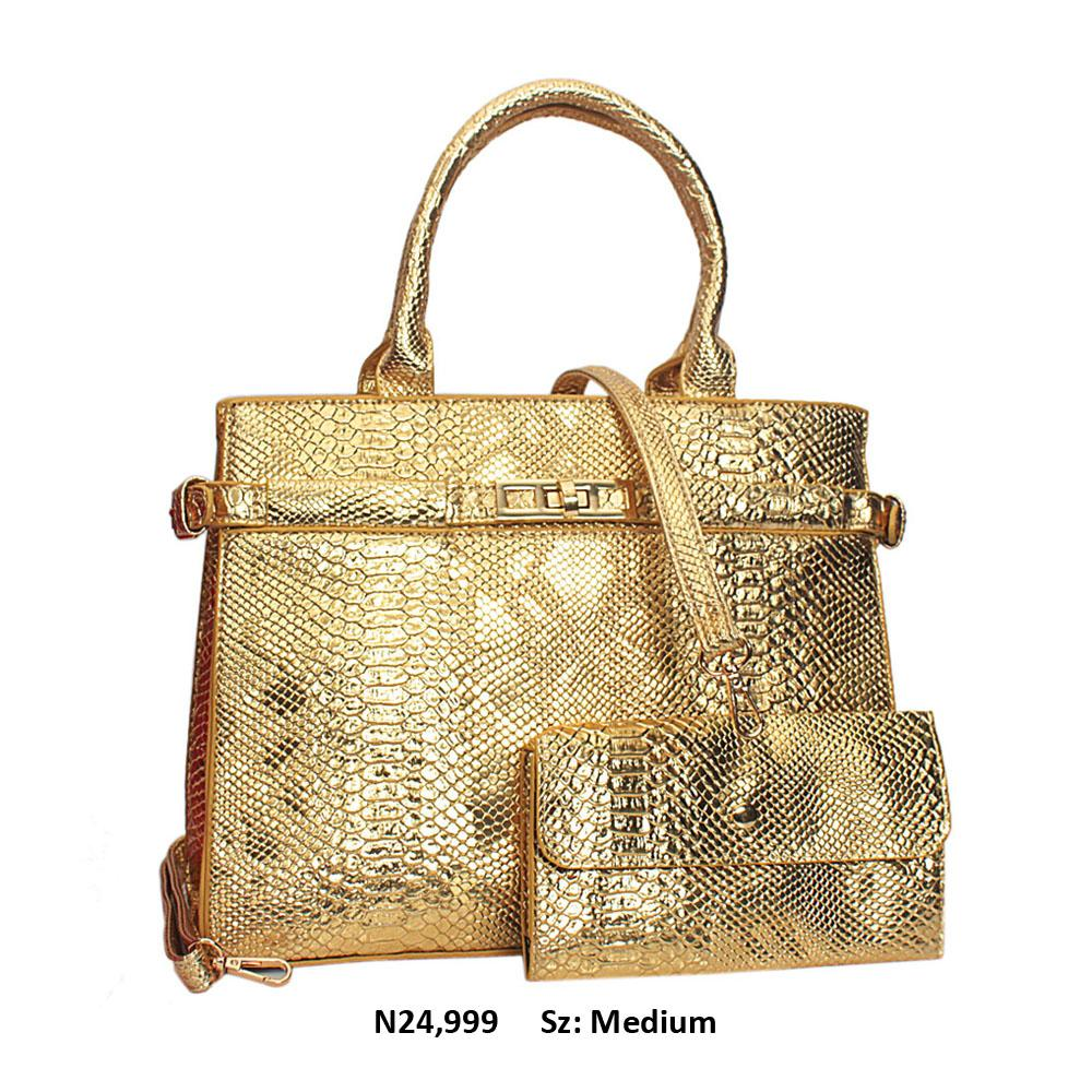 Gold Snake Skin Style Leather Tote Handbag