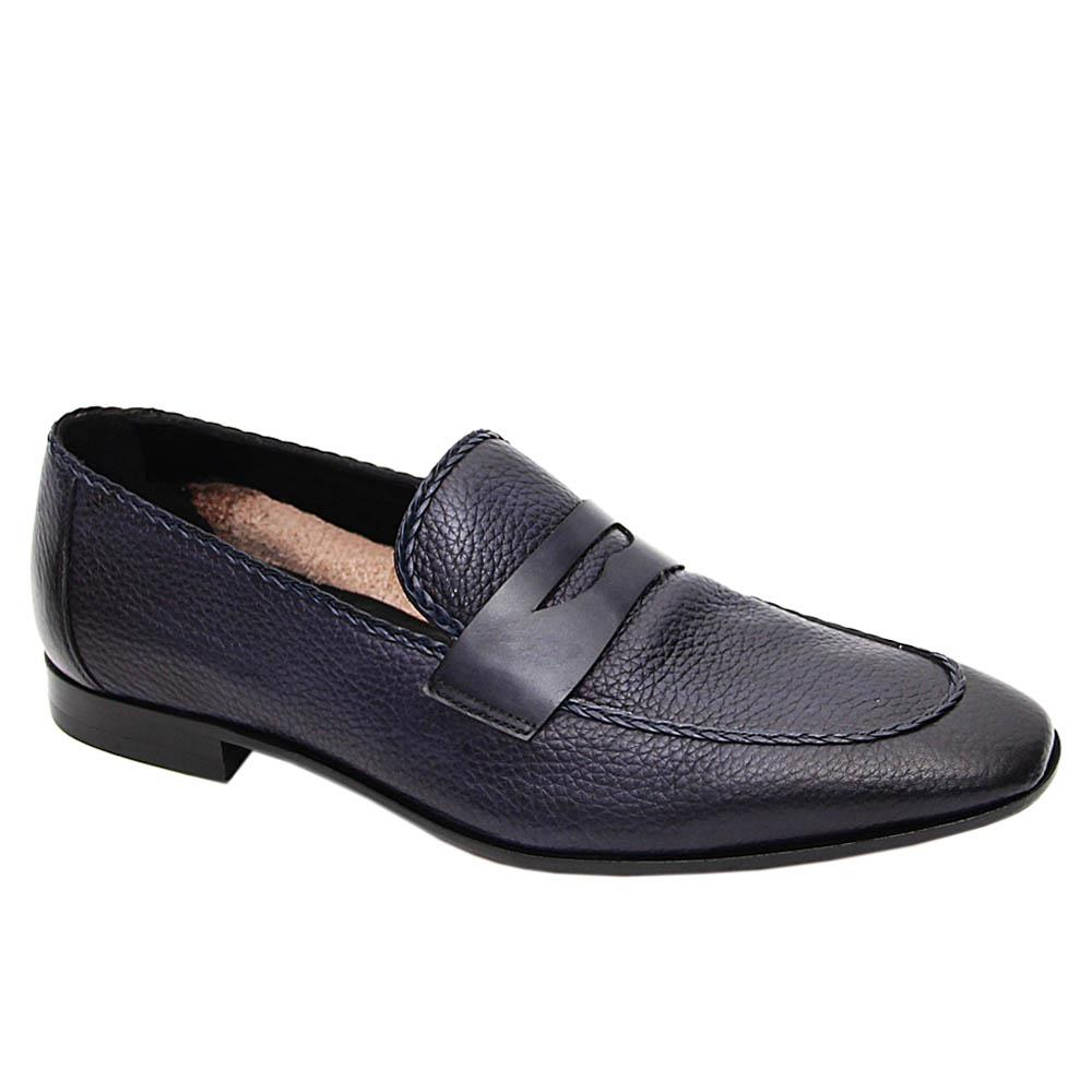 Navy Mariano Italian Leather Loafers