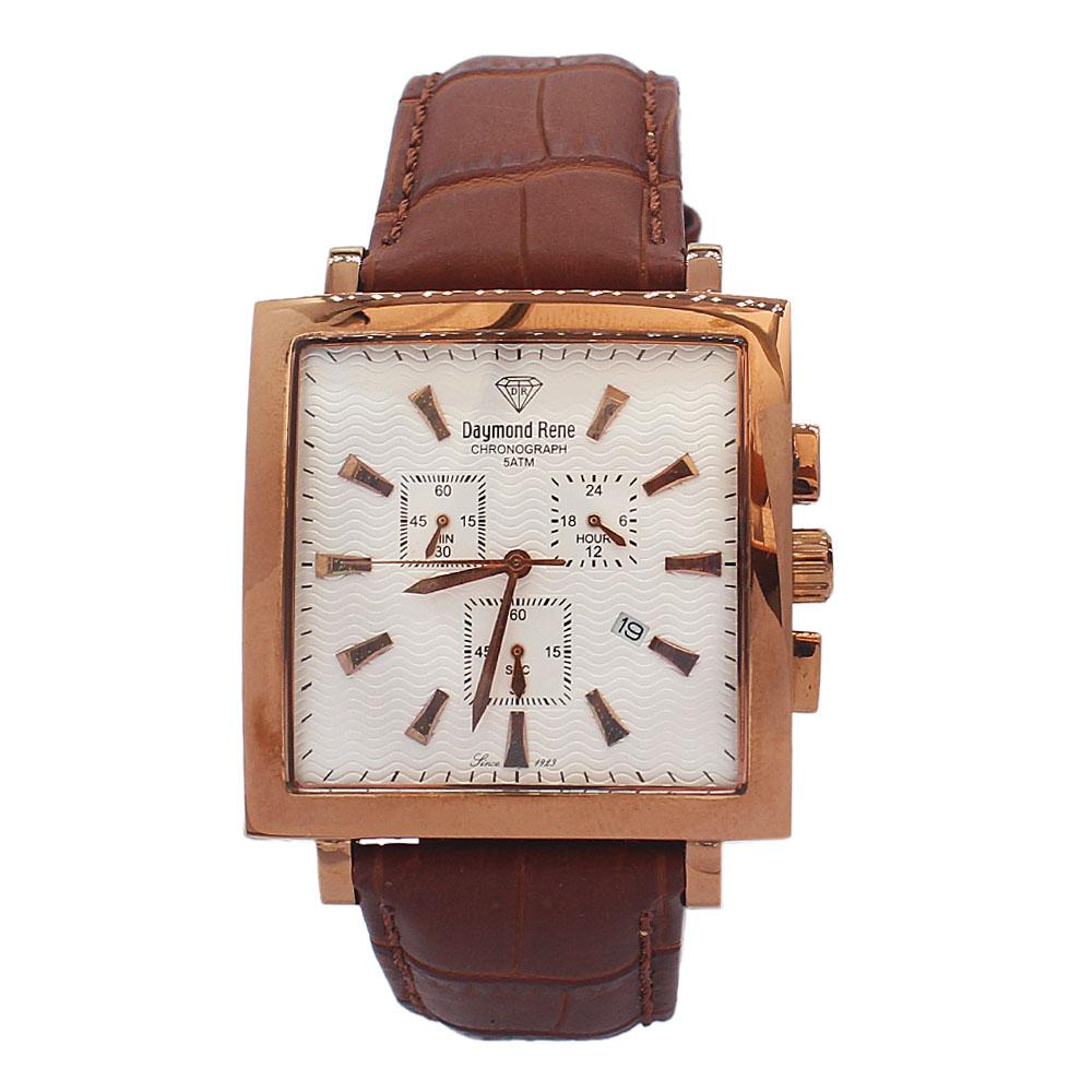 DR 5ATM Rose Gold Brown Leather Chronograph Watch