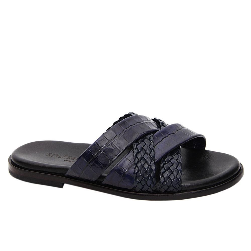 Dark Navy Enrico Crossover Italian Leather Slippers
