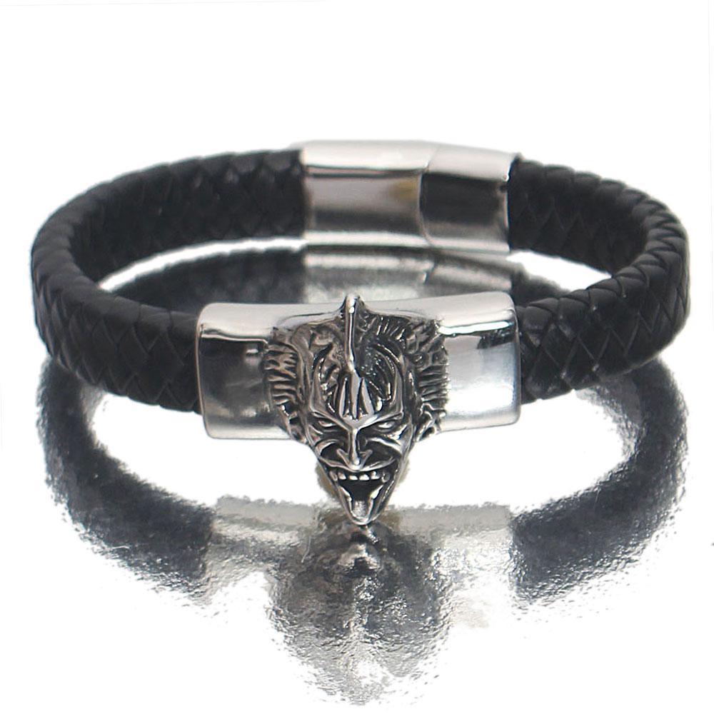 Silver Black Ghost Leather Bracelet