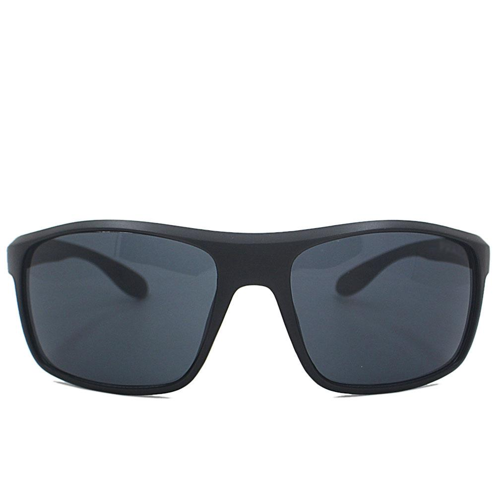 Black Curved Narrow Fit Sunglasses