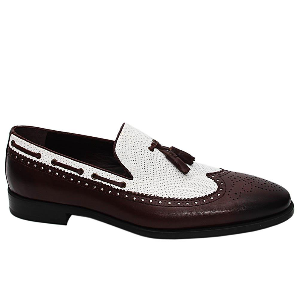 Coffee White Colombo Italian Leather Tassel Loafers