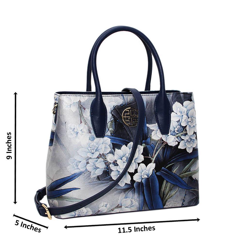 Navy Alissia Floral Print Premium Leather Medium Handbag