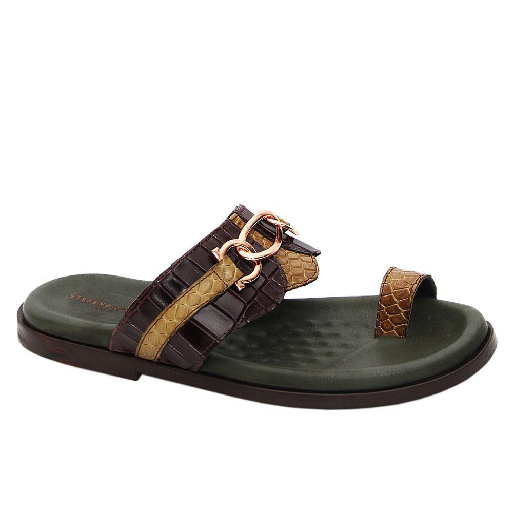 Green Coffee Axel Italian Leather Slippers