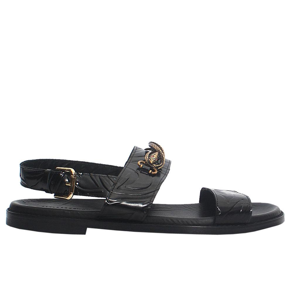 Black Snake Italian Leather Men Sandals