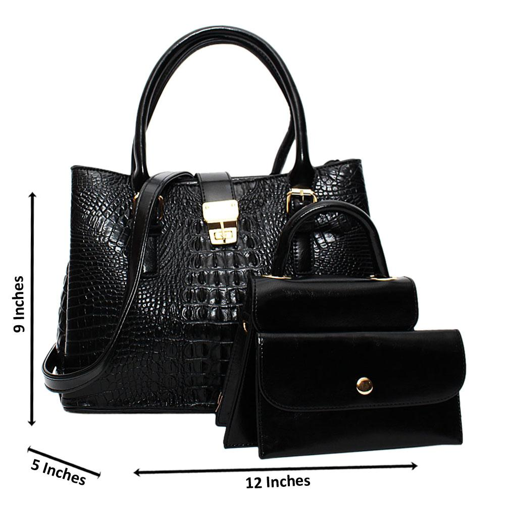 Black Venus Croc Leather Medium 3 in 1 Tote Handbag