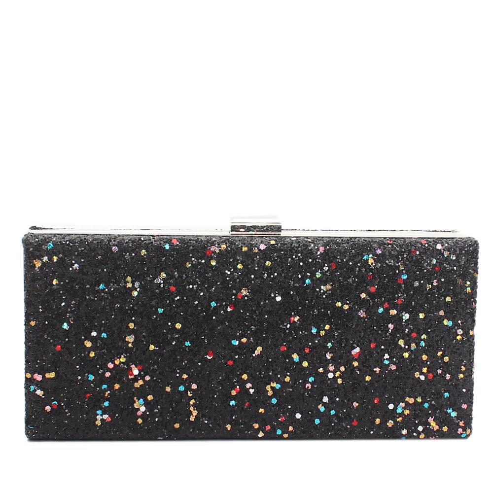 Black Shimmering Hard Clutch Purse