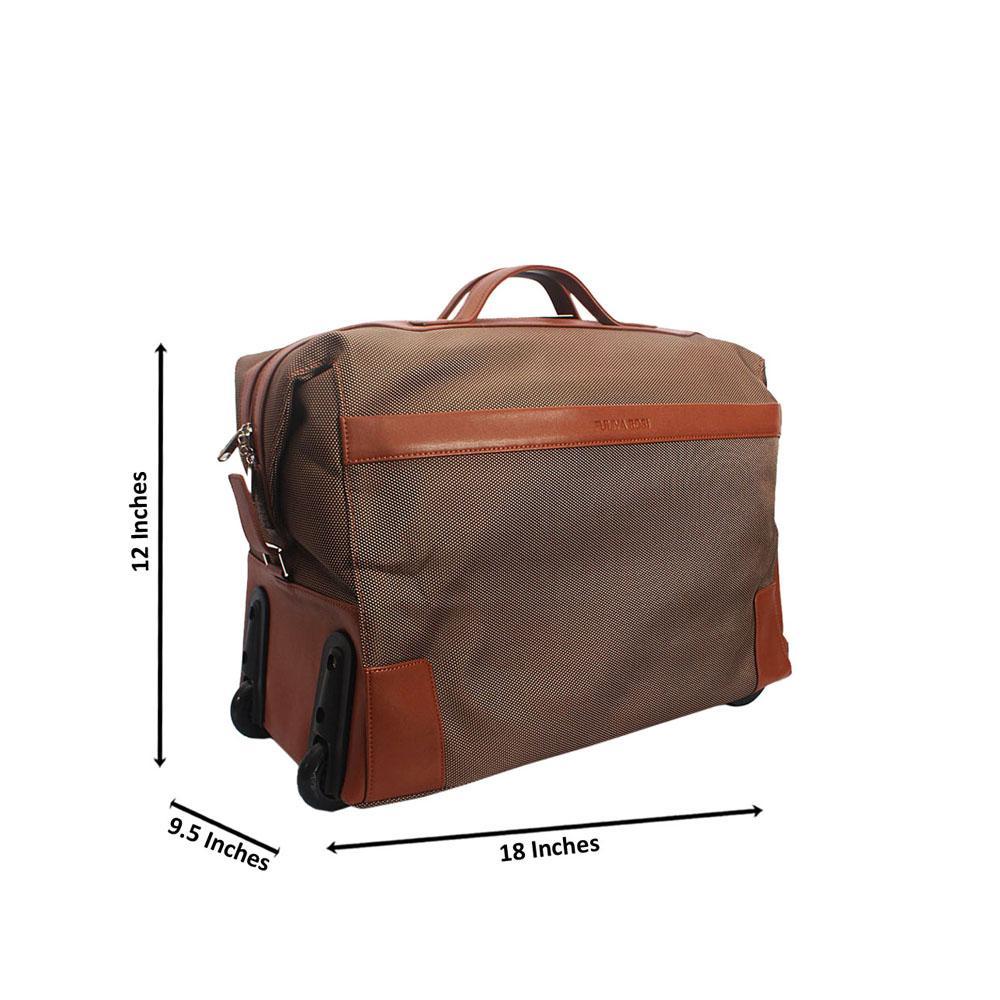 Brown Cordura Fabric Leather Trolley Duffel Bag