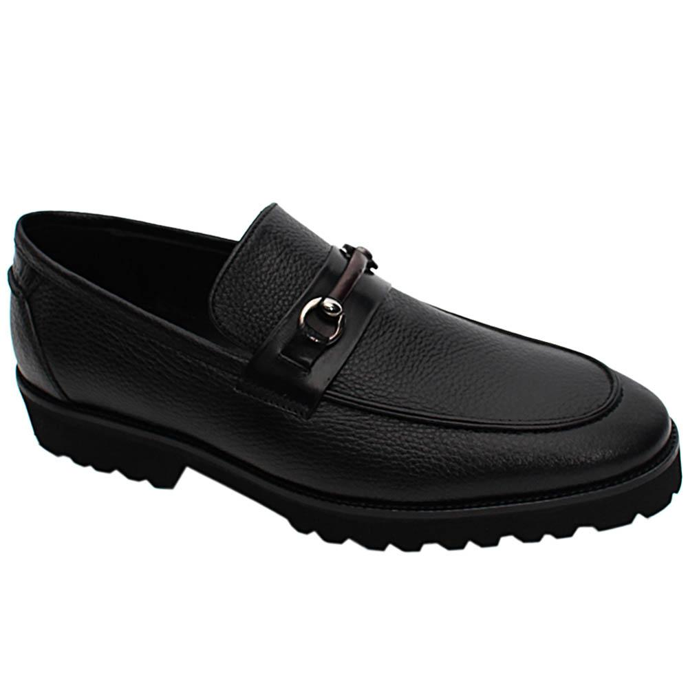 Black Cornelis Italian Leather Men Horsebit Loafers