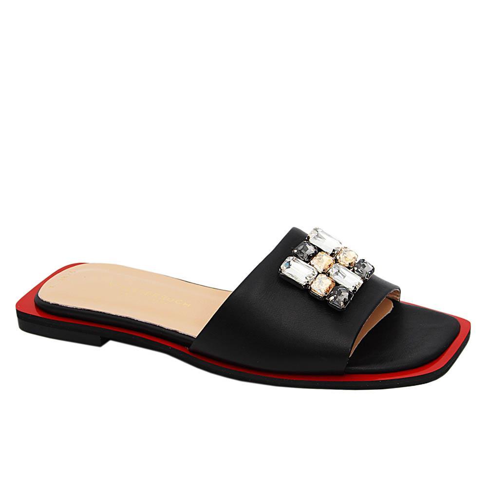 Black Yolanda Pearl Italian Leather Flat Slippers