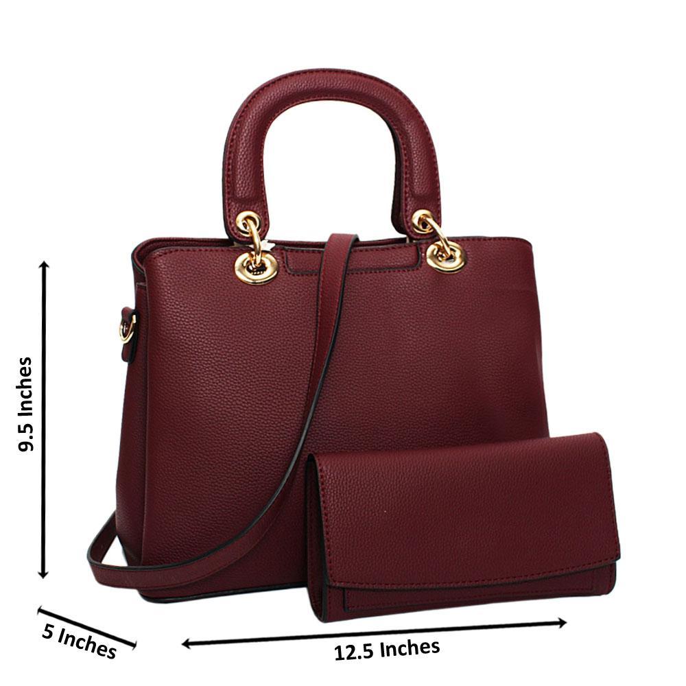 Burgundy Layla Leather Medium Tote Handbag