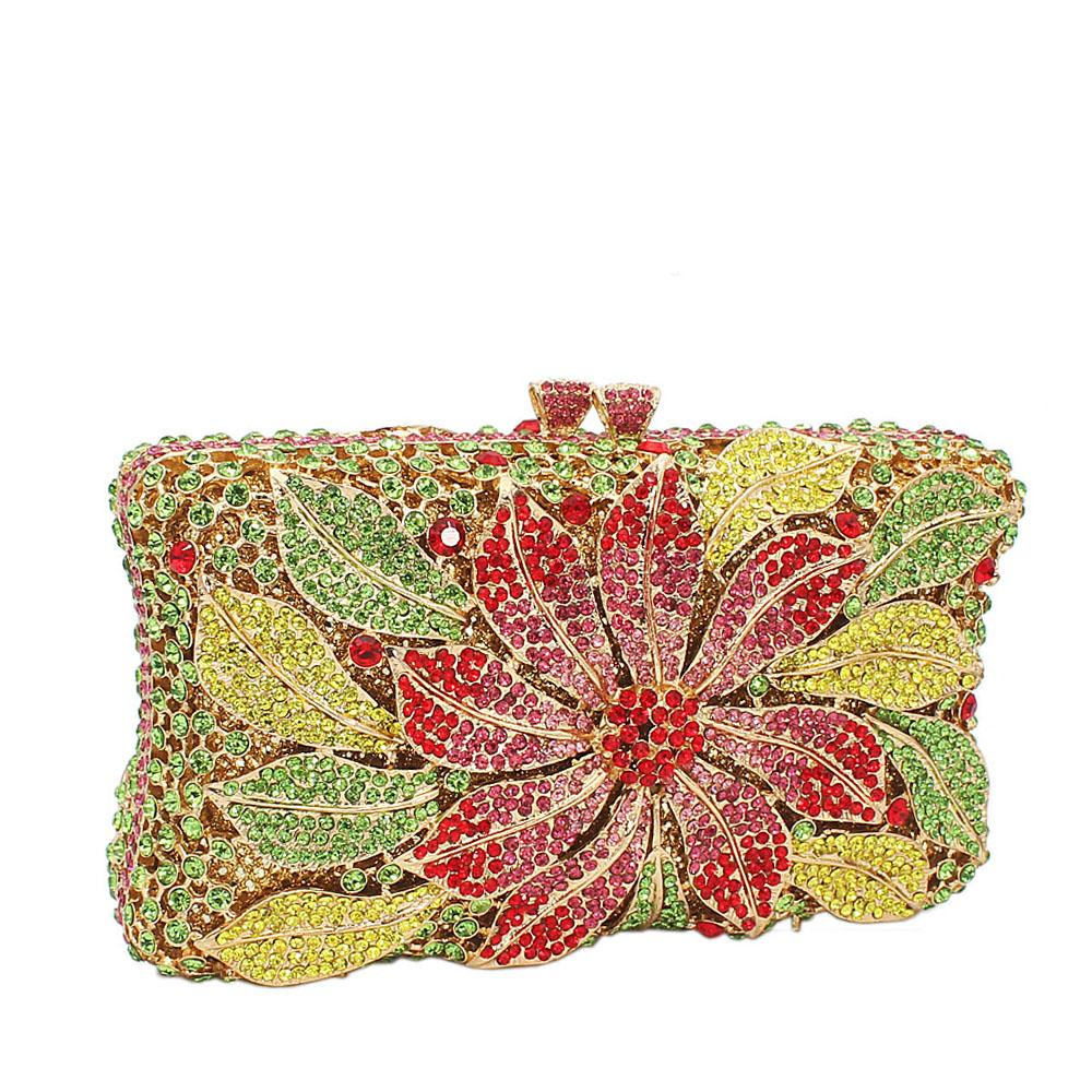 Lemon Green Rose Petals Diamante Crystal Clutch Purse
