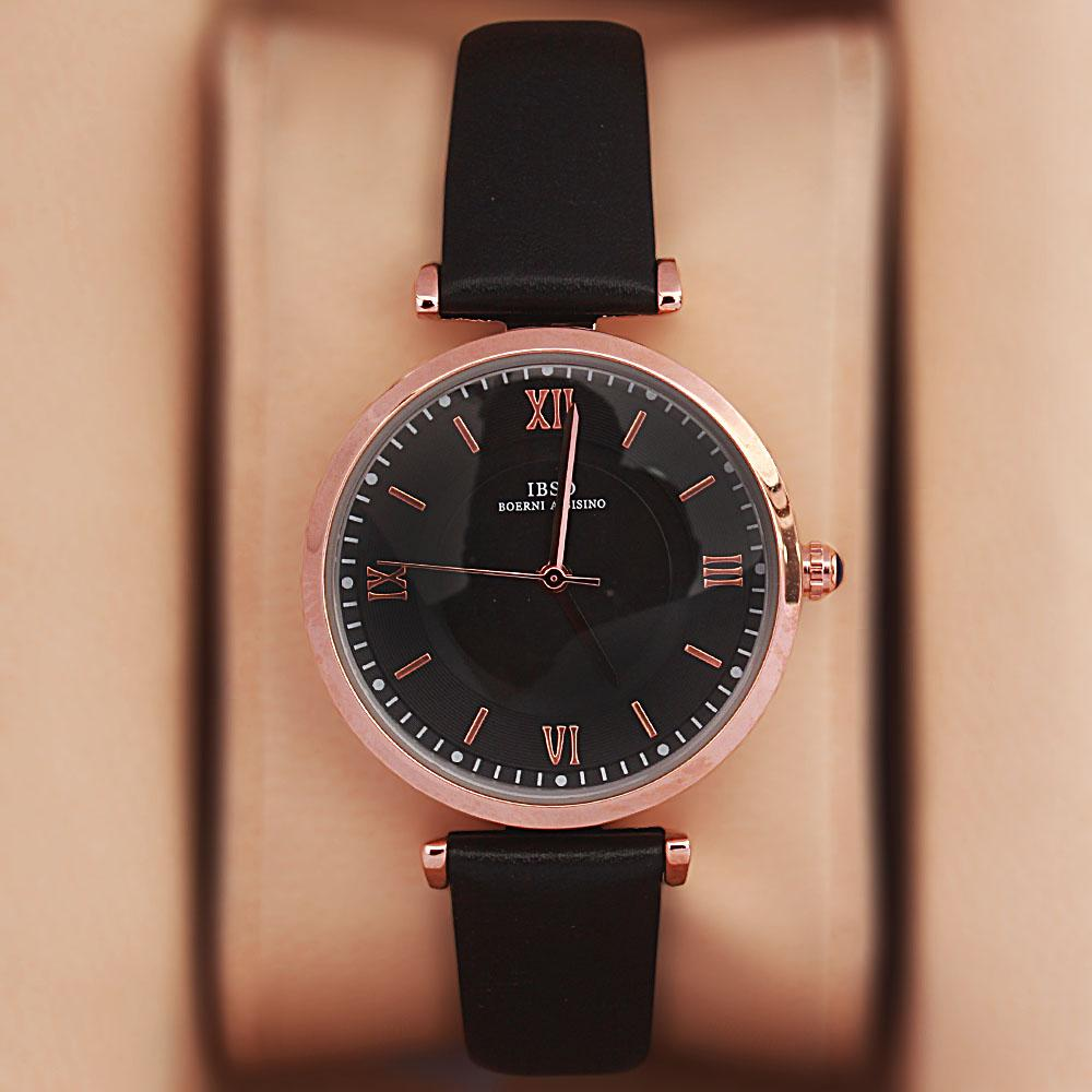Vintage Black Leather Slim Ladies Watch