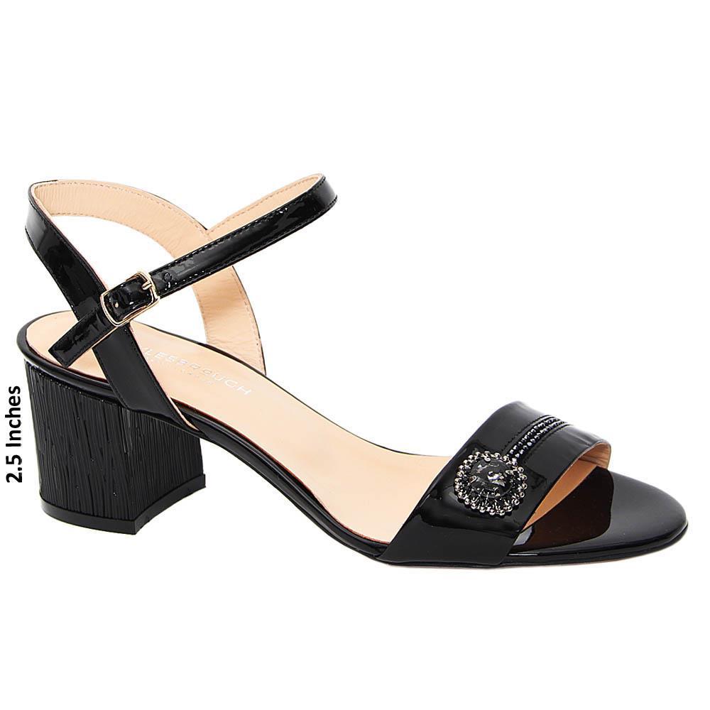 Black Lupe Patent Tuscany Leather Block Heel Sandal