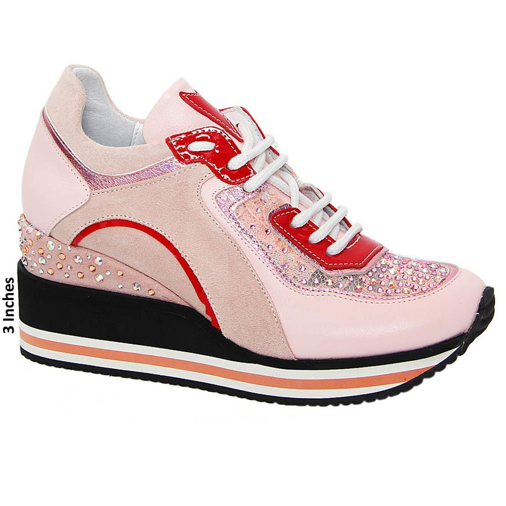 Pink April Studded Tuscany Leather Breathable Wedge Sneaker