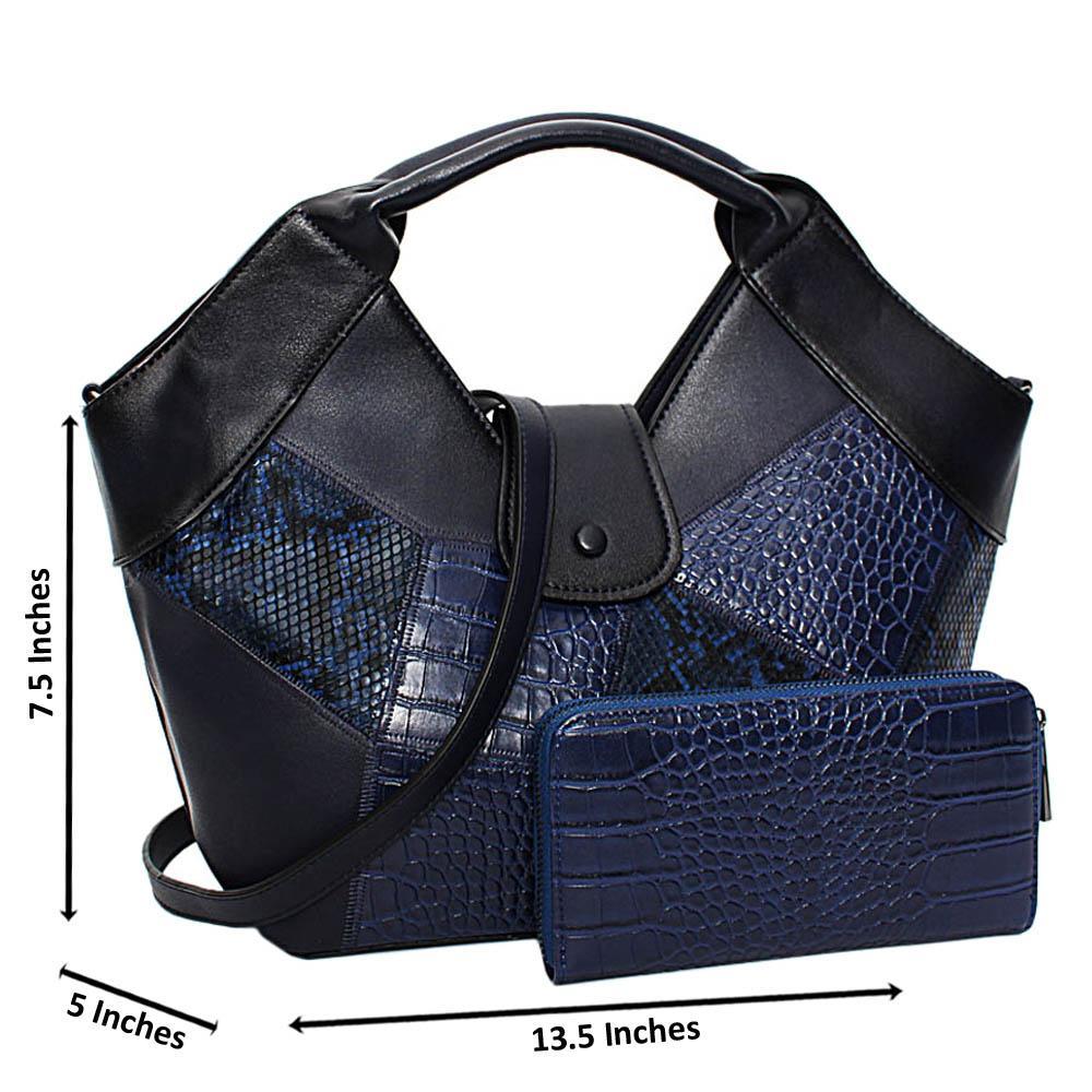 Navy Becky Mix Croc Snake Leather Medium Tote Handbag